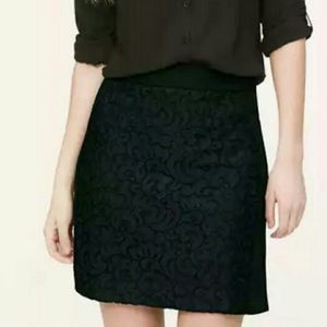LOFT Black Lace Eyelet Panel Scuba Pencil Skirt